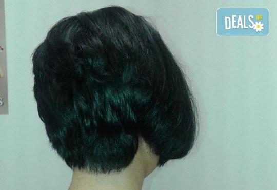 Подстригване, масажно измиване и кератинова терапия с професионалните продукти на Brave new hair и оформяне със сешоар в салон за красота Феникс - Снимка 4