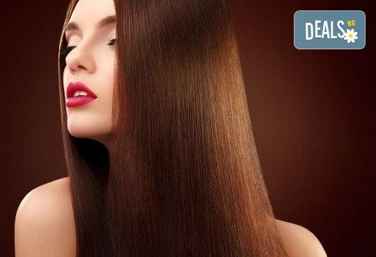 Полиране на коса, подхранваща терапия и прическа в салон Женско