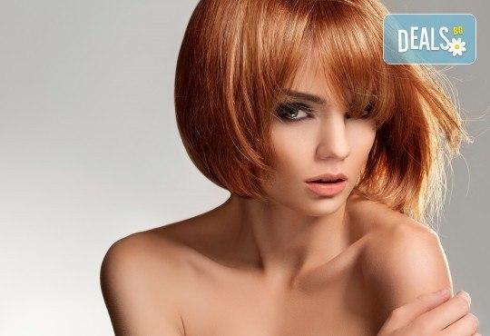 Лукс терапия за коса с инфраред преса - ботокс, кератин или хиалурон, професионално подстригване и прическа със сешоар, преса или маша в Женско царство в Центъра или Студентски град - Снимка 1