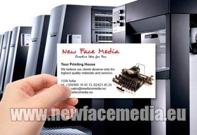 1000 пълноцветни двустранни лукс визитки! Висококачествен печат върху 340 г картон от New Face Media - Снимка