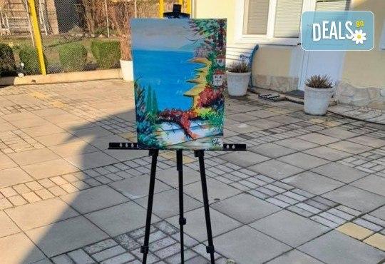 3 часа рисуване на Лазурен бряг на 30.05. (събота) с напътствията на професионален художник, чаша вино и минерална вода от Арт ателие Багри и вино - Снимка 6