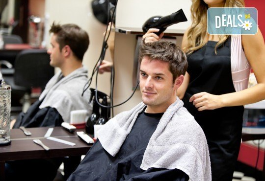 Мъжко подстригване, масажно измиване, терапия по избор: хидратираща, против косопад или дълбоко подхранваща, и изсушаване в Салон за красота Angels beauty - Снимка 2