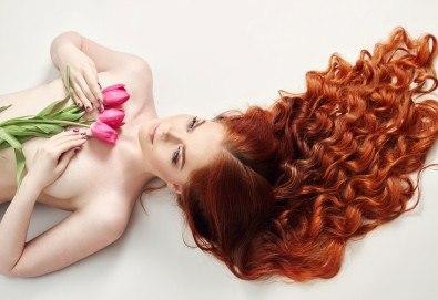 Свежест в косите! Боядисване с боя на клиента, масажно измиване и сешоар с или без подстригване от студио Five! - Снимка