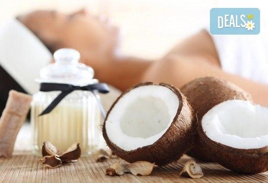 80-минутна СПА терапия Баунти! Пилинг с шоколад на цяло тяло и релаксиращ масаж на цяло тяло с био кокосово масло в SPA център Senses Massage & Recreation! - Снимка 1