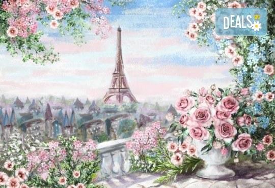 Романтика на 12-ти юни! 3 часа рисуване на тема Париж, с напътствията на професионален художник + чаша вино и минерална вода в Арт ателие Багри и вино - Снимка 1