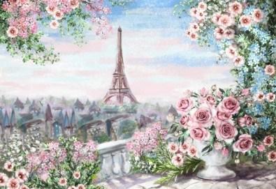 Романтика на 12-ти юни! 3 часа рисуване на тема Париж, с напътствията на професионален художник + чаша вино и минерална вода в Арт ателие Багри и вино - Снимка