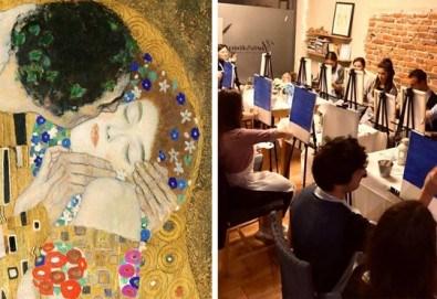 3 часа рисуване на тема Целувката по Климт на 05.06. с напътствията на професионален художник + чаша вино и минерална вода в Арт ателие Багри и вино - Снимка