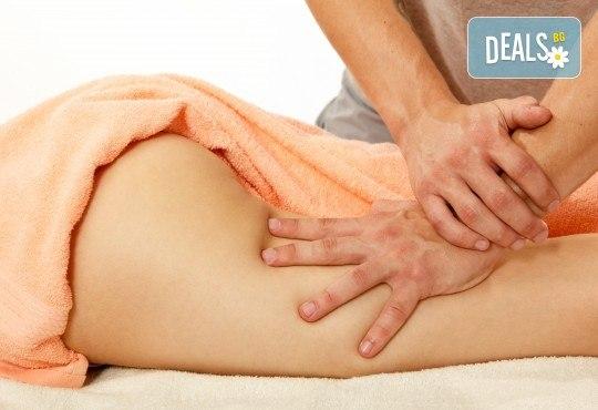 Комбинирана 60-минутна антицелулитна процедура в 4 стъпки - пилинг, мануален масаж, инфраред терапия и увиване с фолио за постигане на сауна ефект в студио Нимфея! - Снимка 1