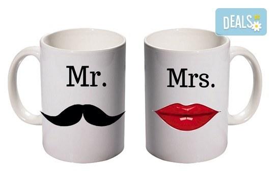Романтичен подарък за влюбени! 2 броя чаши за двойки с дизайн по избор от Хартиен свят - Снимка 1