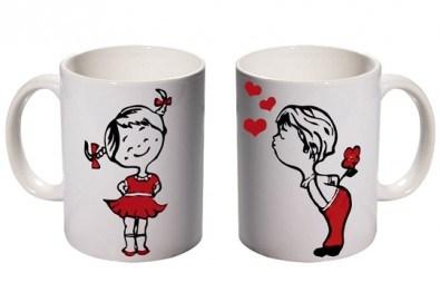 Романтичен подарък за влюбени! 2 броя чаши за двойки с дизайн по избор от Хартиен свят - Снимка
