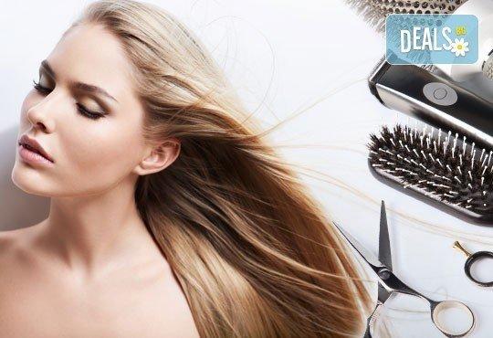 Освежете прическата си! Подстригване, арганова терапия за коса с инфраред преса и плитка или оформяне с преса в студио Relax Beauty&Spa - Снимка 5