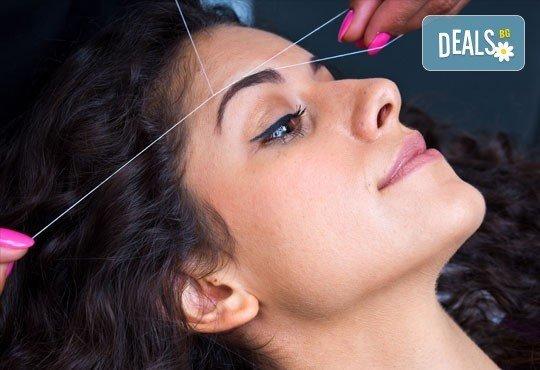 Прецизно почистени вежди и горна устна с конец - индийски метод с дълготраен ефект, от Royal Beauty Center в Центъра - Снимка 2
