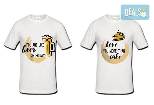 Романтично и забавно! 2 броя тениски за двойки със снимка на клиента или щампа по Ваш избор от Хартиен свят - Снимка 3