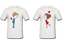 Романтично и забавно! 2 броя тениски за двойки със снимка на клиента или щампа по Ваш избор от Хартиен свят - Снимка