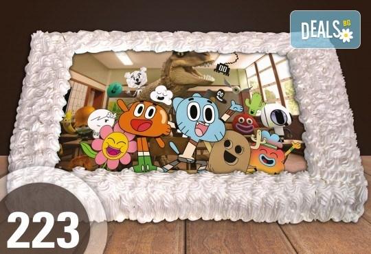 Голяма детска торта 20, 25 или 30 парчета със снимка на любим герой от Сладкарница Джорджо Джани - Снимка 2