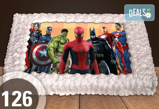 Голяма детска торта 20, 25 или 30 парчета със снимка на любим герой от Сладкарница Джорджо Джани - Снимка 26