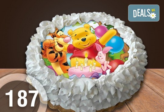 Детска торта с 12 парчета с крем и какаови блатове + детска снимка или снимка на клиента, от Сладкарница Джорджо Джани - Снимка 1