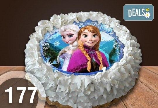 Детска торта с 12 парчета с крем и какаови блатове + детска снимка или снимка на клиента, от Сладкарница Джорджо Джани - Снимка 18