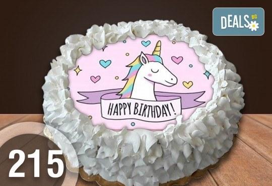 Детска торта с 12 парчета с крем и какаови блатове + детска снимка или снимка на клиента, от Сладкарница Джорджо Джани - Снимка 29