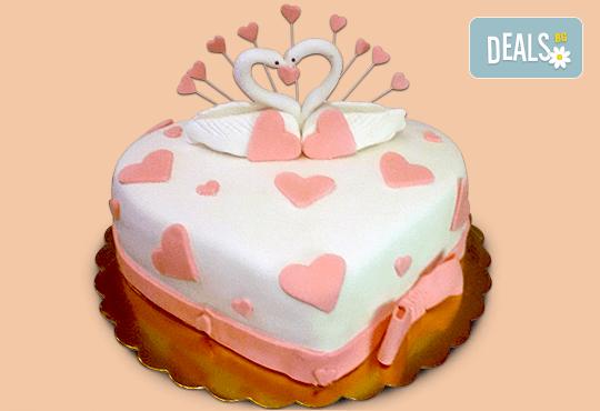 За Вашата сватба! Бутикова сватбена торта с АРТ декорация от Сладкарница Джорджо Джани - Снимка 4