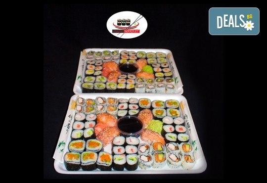 108 суши хапки със сьомга, херинга, сурими и зеленчуци от Sushi Market