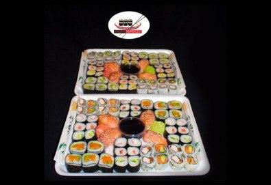 Апетитно! Вземете суши сет със 108 хапки с пресни зеленчуци, пушена сьомга, сурими, бяла и розова херинга от Sushi Market - Снимка