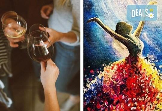 Рисуване и вино! 3 часа рисуване на тема Танц на лунна светлина на 20.09. (неделя) + чаша вино и минерална вода в Арт ателие Багри и вино - Снимка 1