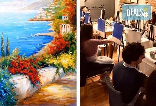 3 часа рисуване на Синева на 25.10. (неделя) с напътствията на професионален художник, чаша вино и вода в Арт ателие Багри и вино - Снимка 1