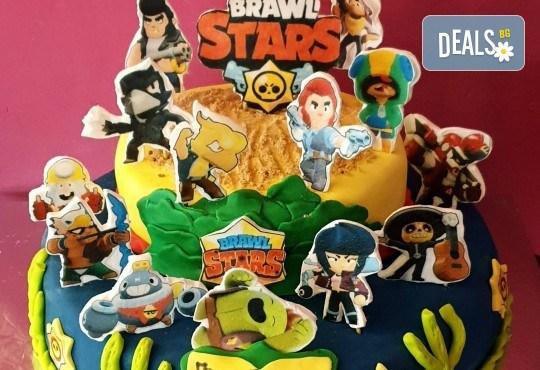 Смърфове, Миньони & Brawl stars! Голяма детска 3D торта 37 ПАРЧЕТА с фигурална ръчно изработена декорация от Сладкарница Джорджо Джани - Снимка 14