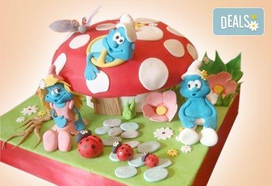 Смърфове, Миньони & Brawl stars! Голяма детска 3D торта 37 ПАРЧЕТА с фигурална ръчно изработена декорация от Сладкарница Джорджо Джани - Снимка 11