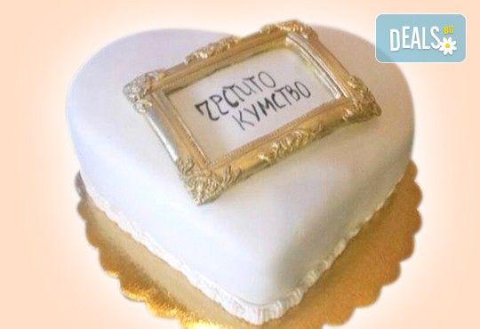 За кумовете! Празнична торта Честито кумство с пъстри цветя, дизайн сърце, романтични рози, влюбени гълъби или др. от Сладкарница Джорджо Джани - Снимка 6