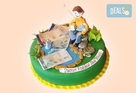 За кумовете! Празнична торта Честито кумство с пъстри цветя, дизайн сърце, романтични рози, влюбени гълъби или др. от Сладкарница Джорджо Джани - Снимка 36