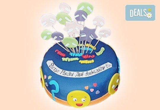 За кумовете! Празнична торта Честито кумство с пъстри цветя, дизайн сърце, романтични рози, влюбени гълъби или др. от Сладкарница Джорджо Джани - Снимка 34