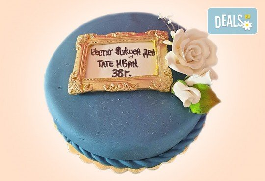 За кумовете! Празнична торта Честито кумство с пъстри цветя, дизайн сърце, романтични рози, влюбени гълъби или др. от Сладкарница Джорджо Джани - Снимка 4