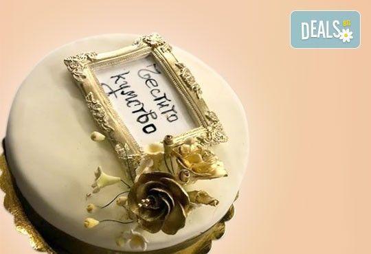 За кумовете! Празнична торта Честито кумство с пъстри цветя, дизайн сърце, романтични рози, влюбени гълъби или др. от Сладкарница Джорджо Джани - Снимка 1