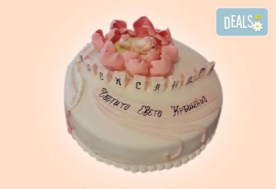 За кумовете! Празнична торта Честито кумство с пъстри цветя, дизайн сърце, романтични рози, влюбени гълъби или др. от Сладкарница Джорджо Джани - Снимка 39