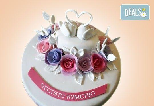 За кумовете! Празнична торта Честито кумство с пъстри цветя, дизайн сърце, романтични рози, влюбени гълъби или др. от Сладкарница Джорджо Джани - Снимка 2