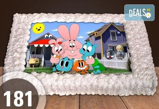 За най-малките! Голяма торта със снимка 20, 25 или 30 парчета за празника на Вашето дете с герой от филмче от Сладкарница Джорджо Джани - Снимка 2