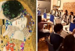 3 часа рисуване на тема Целувката по Климт на 08.11.(неделя) с напътствията на професионален художник + чаша вино и минерална вода в Арт ателие Багри и вино - Снимка
