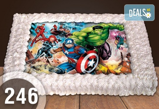 Експресна торта от днес за днес! Голяма детска торта 20, 25 или 30 парчета със снимка на любим герой от Сладкарница Джорджо Джани - Снимка 60