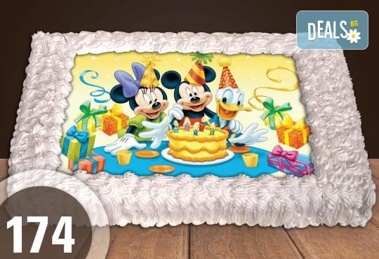Експресна торта от днес за днес! Голяма детска торта 20, 25 или 30 парчета със снимка на любим герой от Сладкарница Джорджо Джани - Снимка 72