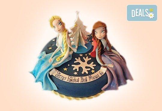 Елза и Анна! Тематична 3D торта Замръзналото кралство от 12 до 37 парчетата - кръгла, голяма правоъгълна или триизмерна кукла Елза от Сладкарница Джорджо Джани - Снимка 6