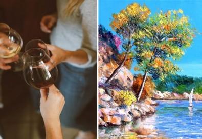 В света на цветовете! Рисувайте заедно с професионален художник картината Цветна приказка на 22-ри ноември (неделя) от 17 часа, Багри и вино - Снимка