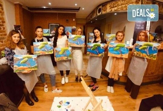 АРТ подарък за празниците! Рисувайте 4 впечатляващи картини или подарете карта за рисуване с напътствията на професионален художник и ароматно вино, Арт ателие Багри и вино - Снимка 3