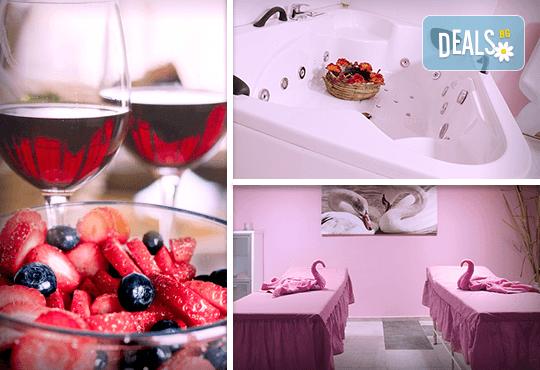 За Свети Валентин! Романтичен СПА пакет за двама в Senses Massage & Recreation - масаж, перлена вана, вино и трансфер с лимузина Lincoln - Снимка 1