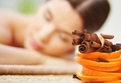 50-минутна СПА терапия Коледна фантазия - дълбоко релаксиращ антистрес масаж на цяло тяло с портокал и канела плюс пилинг с шоколад от Ganesha - Снимка