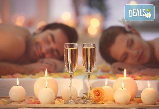 Перфектният подарък! СПА пакет Сан Марино: синхронен дълбокотъканен масаж за двама с бадем, злато или шоколад, 2 чаши уиски или бяло вино, ядки и релакс в борова инфраред сауна в луксозния Senses Massage & Recreation - Снимка 1
