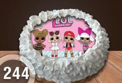 Детска торта с 8 парчета с крем и какаови блатове + детска снимка или снимка на клиента, от Сладкарница Джорджо Джани - Снимка