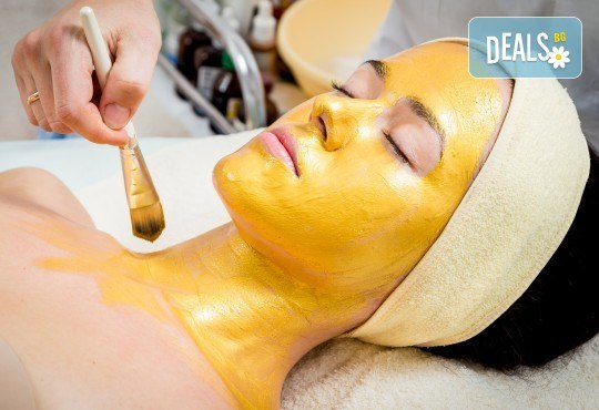 Царствено излъчване! Златна мезотерапия на лице Императорско злато с нано игли, златна маска и масаж със златен гел Oligo Elixir от Студио за красота Хубава жена - Снимка 1