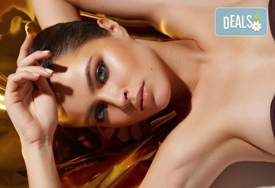 Царствено излъчване! Златна мезотерапия на лице Императорско злато с нано игли, златна маска и масаж със златен гел Oligo Elixir от Студио за красота Хубава жена - Снимка 3